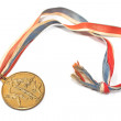 Vintage gold sport medal isolated on white — Stock Photo