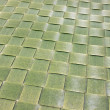 Texture of plastic green woven mat — Stock Photo