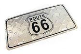 Route 66 silver metallic Sign isolated on white — Stockfoto