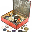 Clothing buttons collection in old tin box — Stock Photo #42944381