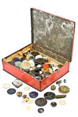 Clothing buttons collection in old tin box — Stock Photo