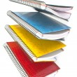 Colorful open spiral notebooks isolated on white — Stock Photo #46712051