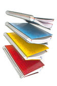 Colorful open spiral notebooks isolated on white — Zdjęcie stockowe
