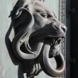 Lion and snake door - Stock Photo