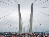 The bridge across the bay Golden Horn on the opening day. — Stock Photo