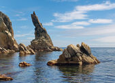 Rock sticking vertically out of the water — Stock Photo