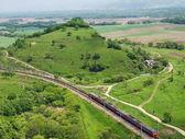 Passenger train. Top view. — Stock Photo