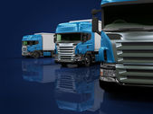 Heavy blue trucks presentation — Stock Photo