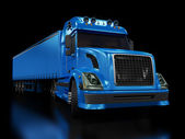 Heavy blue truck isolated on black — Stock Photo
