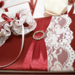 Foto Stock: Wedding book on the decorated table