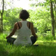 Practicing of yoga outdoors. Young woman In the lotus posture in the sunny forest — Stock Video #12582624
