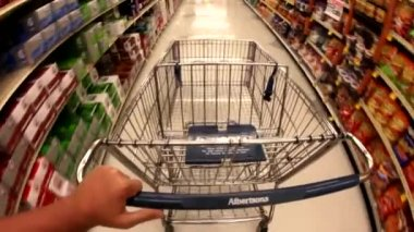 Man with shopping supermarket cart — Stock Video #12582419