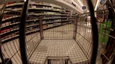 Shopping supermarket cart — Stock Video