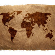 Grungy World Map on Vintage Paper — Stock Photo