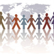 A group of symbol hold hands on a globe background  in a spirit of togetherness - Stock Photo