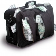 Black bag with dollars — Stock Photo