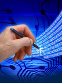 Abstract binary code with man hand — Stock Photo
