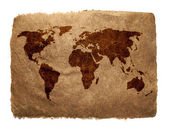 Grungy World Map on Vintage Paper — Stockfoto