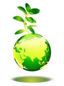 绿色地球上的植物 — 图库照片