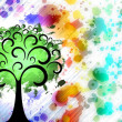 Painted green tree on color spots background - Stock Photo