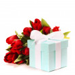 Gift with flowers - Stock Photo