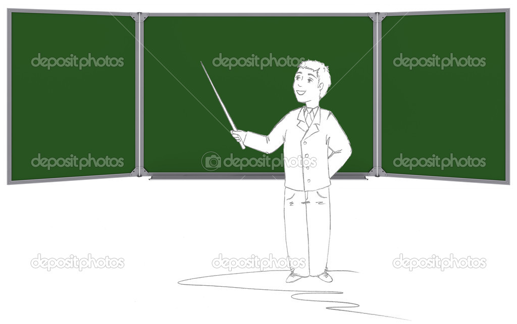 Drawn in pencil man shows pointer on the green board. Isolated on white background — Stock Photo #14031270