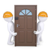 Two 3d human hold the door in their helmets — Stock Photo