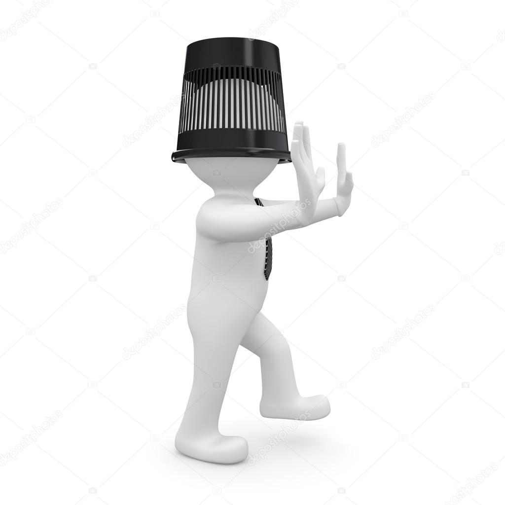 3d human with a bucket on his head is to the touch. Isolated on white background — Stock Photo #14339281