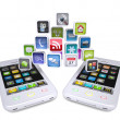 Two white smartphone share applications — Stock Photo