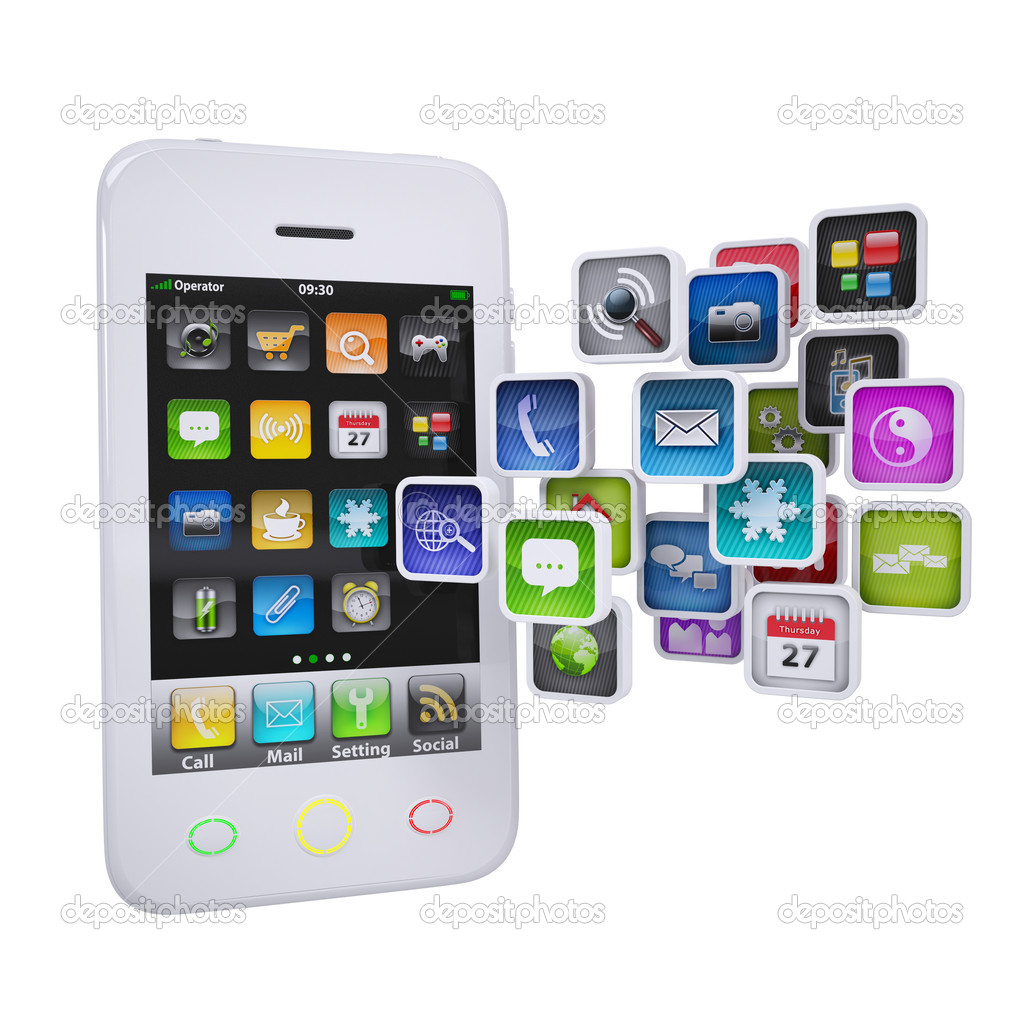 White smartphone with application icons. Isolated render on a white background — Stock Photo #16801643