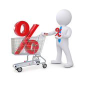 White human standing near a supermarket trolleys with a percent sign — Stock Photo