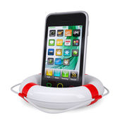 Smartphone in a lifebuoy — Stock Photo