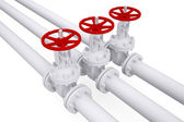 Three valves on the pipeline — Stock Photo
