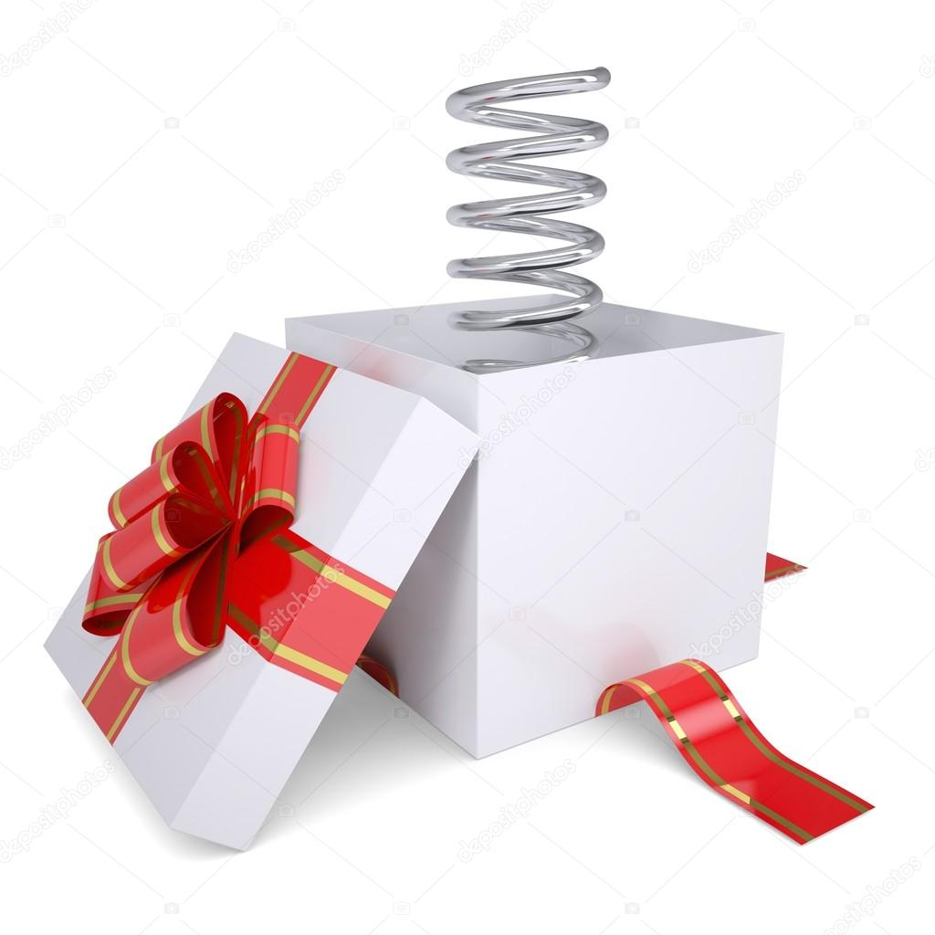 Metal spring from an open gift. Isolated render on a white background — Stock Photo #17650145