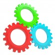 Three colorful gears — Stock Photo