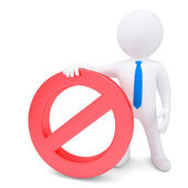 White 3d man with red prohibitory sign — Stock Photo