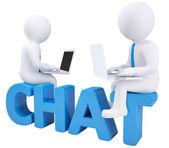 3d homem sentado com um laptop no chat palavra — Fotografia Stock