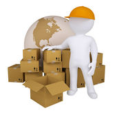 3d man standing near the boxes — Stock Photo