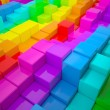 Abstract wall of colored cubes - Stock Photo