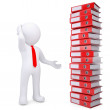 3d white man next to stack of office folders — Stock Photo #23150212