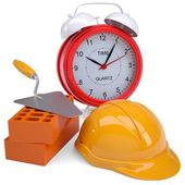 Bricks, hard hat and alarm clock — Stock Photo