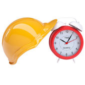 Orange helmet with a clock — Stock Photo