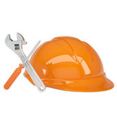 Orange helmet with tools — Stock Photo