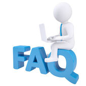 3d white man with a laptop sitting on the labels FAQ. — Stock Photo