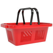 Red basket from a supermarket — Stock Photo