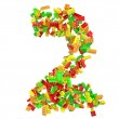 The number 2 is made up of children's blocks. — Stock Photo #23493955