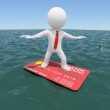 3d man floating on credit card in the sea — Stock Photo #23540123