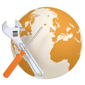 Screwdriver, wrench and planet earth — Stock Photo