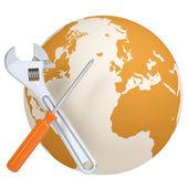 Schroevendraaier en moersleutel planeet aarde — Stockfoto