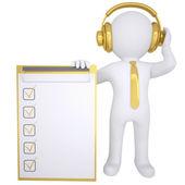 Homem branco 3d em fones de ouvido de ouro — Foto Stock